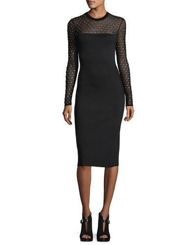 Long-Sleeve Crystal-Trimmed Mesh-Yoke Sheath Dress