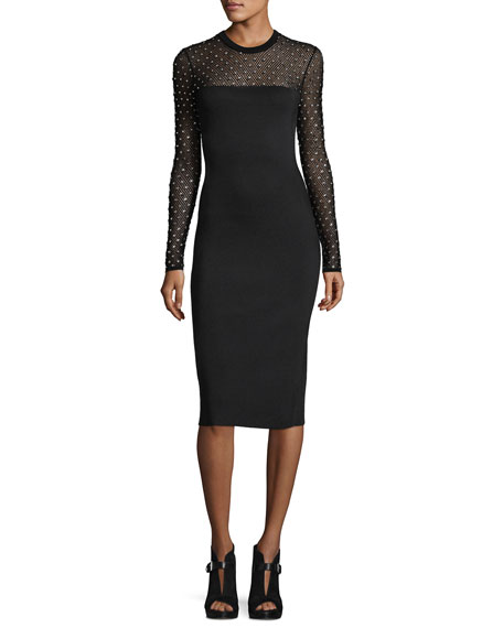 MICHAEL Michael Kors Long-Sleeve Crystal-Trimmed Mesh-Yoke Sheath