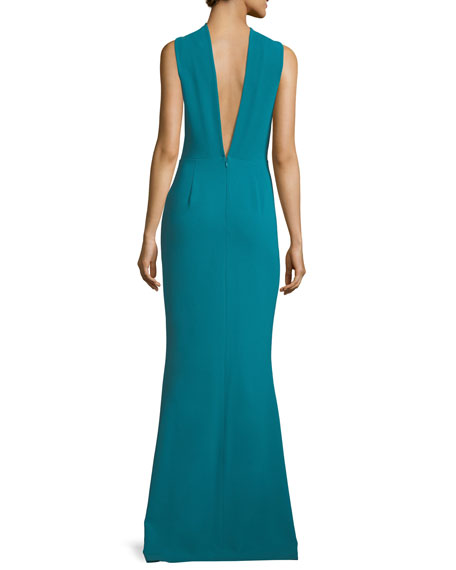 Kajol Sleeveless Halter-Neck Column Evening Gown