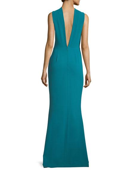 Kajol Sleeveless Halter-Neck Column Evening Gown