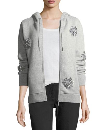 Jewel-Embellished Zip-Front Hoodie