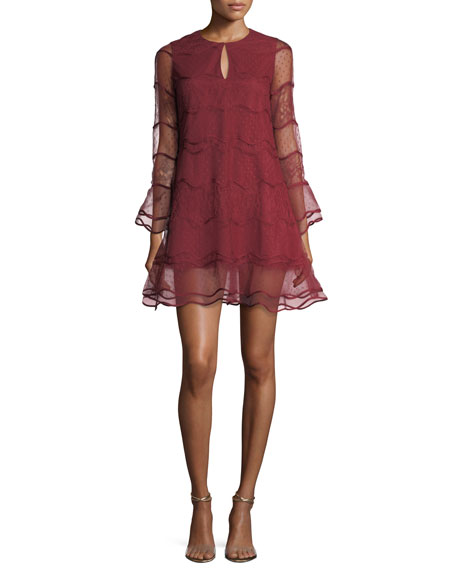 Avant Wavy Jewel-Neck Mesh Cocktail Dress w/ Lace