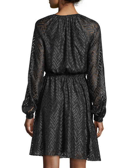 Long Bishop-Sleeve A-Line Jacquard Dress