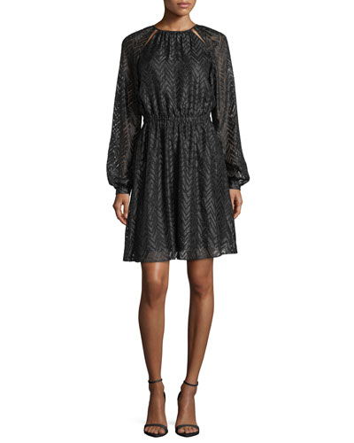 Long Bishop-Sleeve A-Line Jacquard Dress