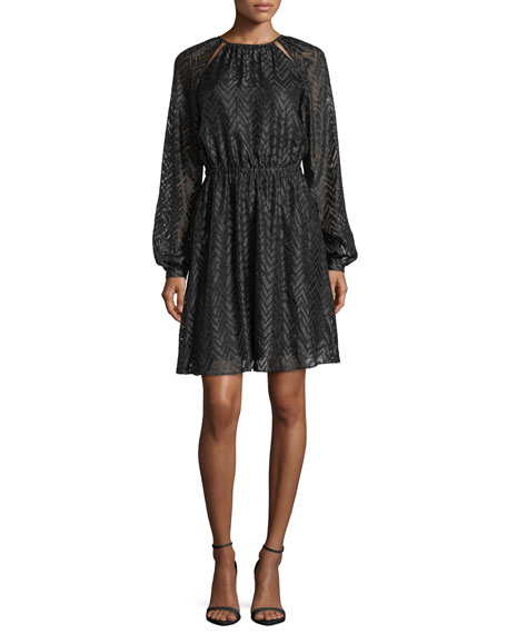 MICHAEL Michael Kors Long Bishop-Sleeve A-Line Jacquard Dress