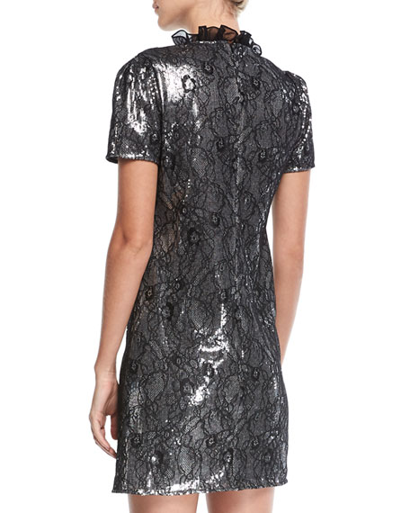 Sequined Lace Cocktail Dress