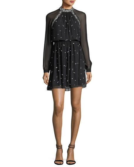 Embellished Long-Sleeve Cocktail Dress