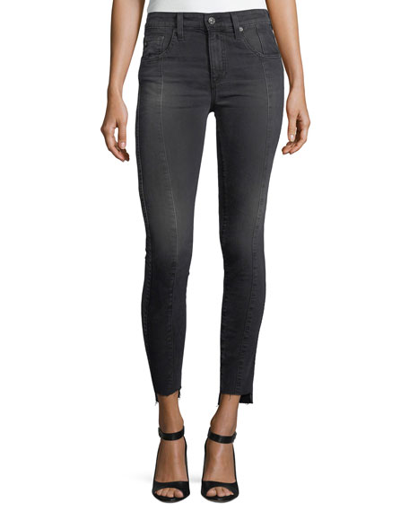 AG Farrah High-Rise Skinny Ankle Jeans w/ Step