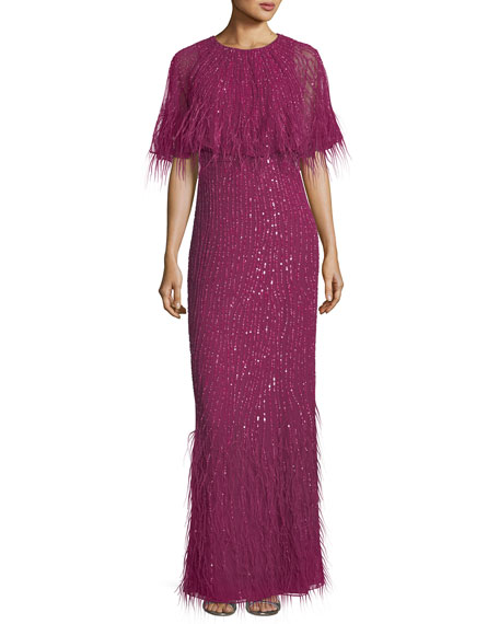 Parker Black Lorena Sequined Feathered Evening Gown