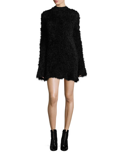 Faux-Fur Crewneck Long-Sleeve A-Line Dress