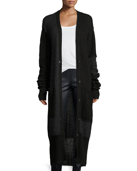McQ Alexander McQueen Button-Front Long-Sleeve Patched Duster