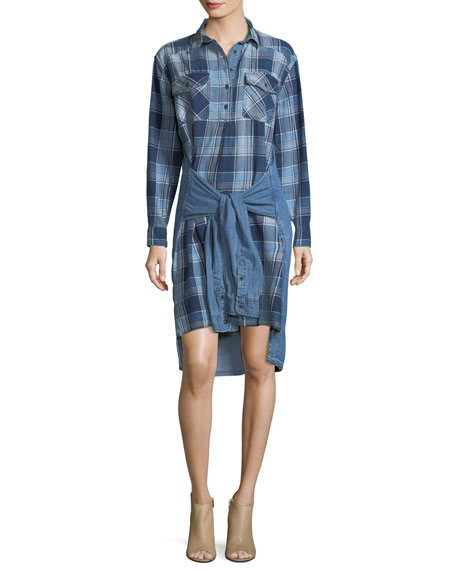 The Twist High-Low Shirt-Tie Plaid Denim Dress