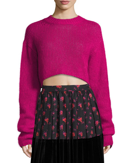 McQ Alexander McQueen Cropped Mohair Crewneck Long Sweater