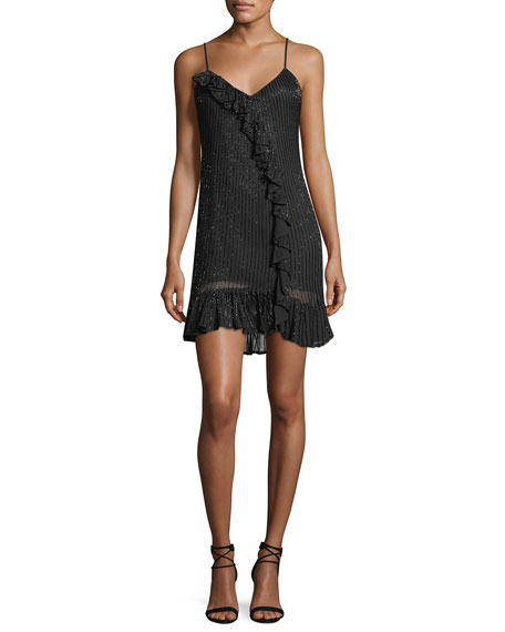Parker Black Kiara V-Neck Sequin Slip Cocktail Dress
