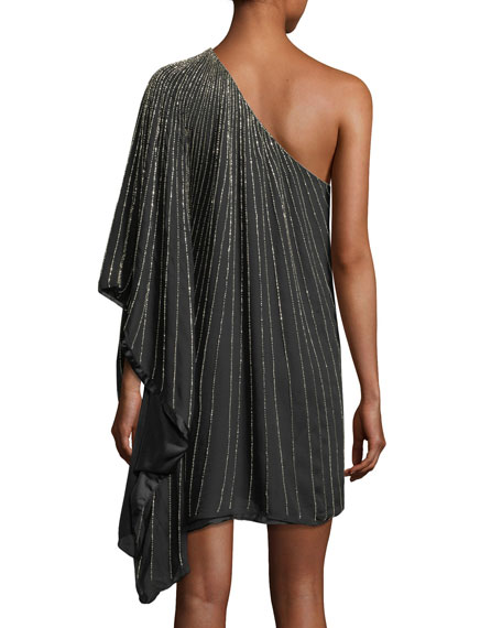 Daphine One-Shoulder Beaded Silk Chiffon Cocktail Dress