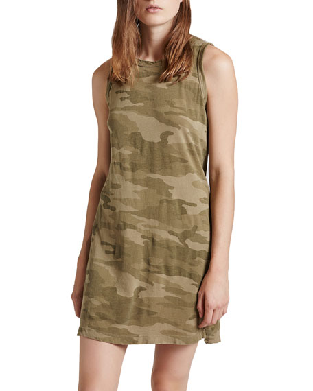 Current/Elliott The Muscle Tee Camo-Print Dress