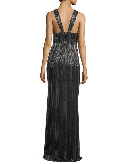 Monarch Beaded V-Neck Sleeveless Evening Gown