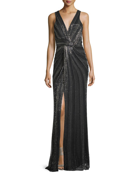 Parker Black Monarch Beaded V-Neck Sleeveless Evening Gown