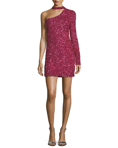Zoey One-Sleeve Beaded Cocktail Minidress