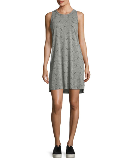 Current/Elliott The Muscle Tee Feather-Print Dress