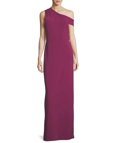 Andrea One-Shoulder Column Evening Gown