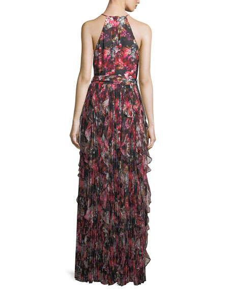 Mellie Halter Floral-Print Ruffled Chiffon Evening Gown