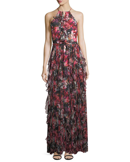 Parker Black Mellie Halter Floral-Print Ruffled Chiffon Evening