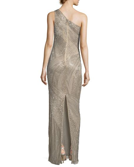 Tasha One-Shoulder Beaded Sequin Evening Gown