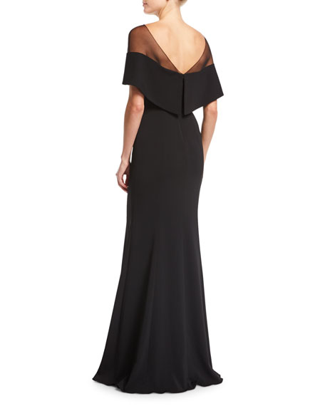 V-Neck Illusion Crepe Mermaid Evening Gown