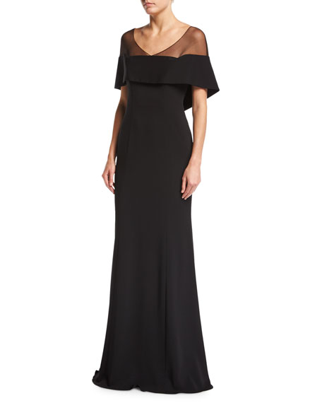 Badgley Mischka V-Neck Illusion Crepe Mermaid Evening Gown