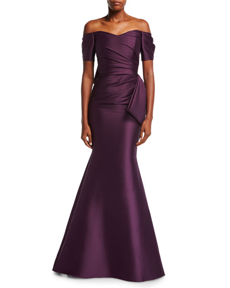 Off-the-Shoulder Bow-Back Ruched Satin Evening Gown