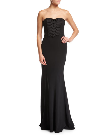 Strapless Pleated Front Column Crepe Evening Gown