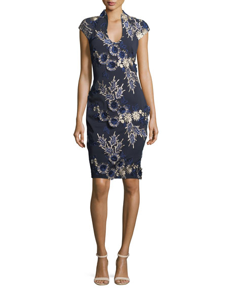 Badgley Mischka Scoop-Neck Cap-Sleeve Floral-Embroidered Cocktail