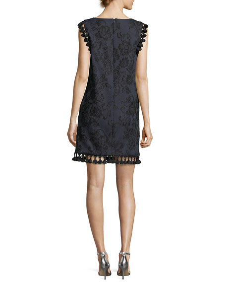 Boat-Neck Sleeveless Embroidered Shift Dress w/ Tassels