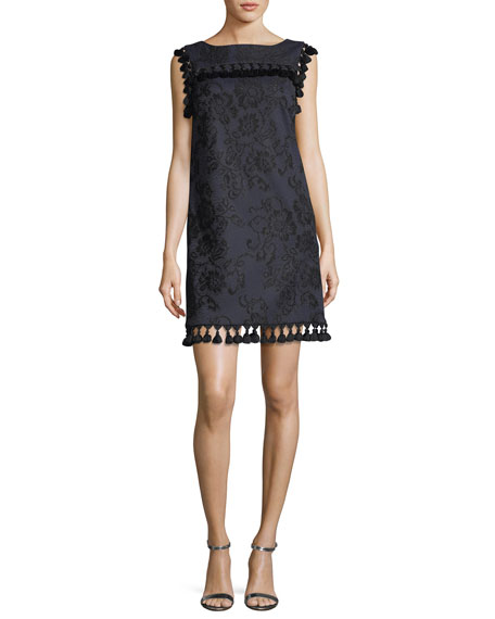 Badgley Mischka Boat-Neck Sleeveless Embroidered Shift Dress w/