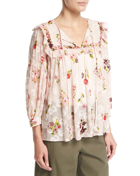 kate spade new york in bloom split-neck floral-print