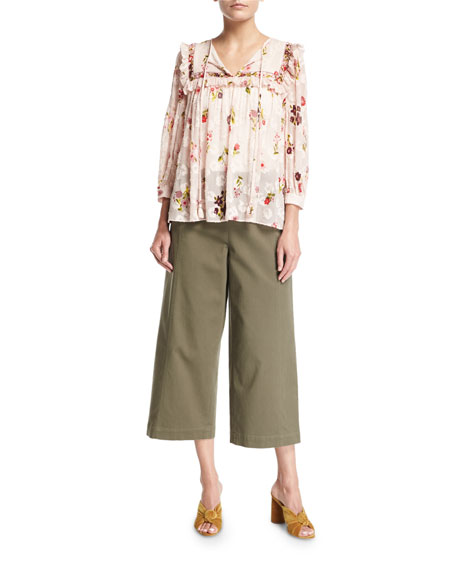cropped wide-leg military cotton pants
