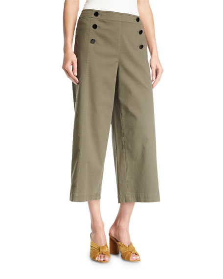kate spade new york cropped wide-leg military cotton