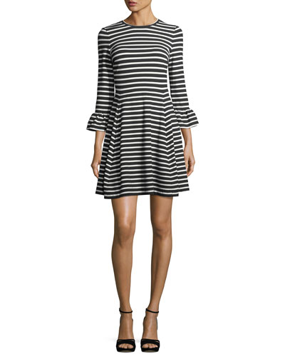 striped ponte fit-and-flare mini dress