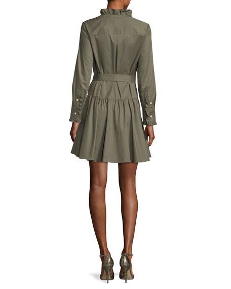 ruffle-neck long-sleeve belted poplin dress