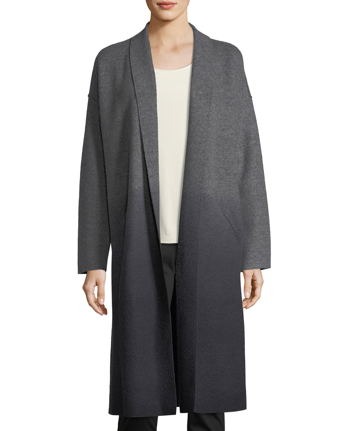 3ac83bd10d3a7 Eileen Fisher Ombre Boiled Wool Kimono Coat