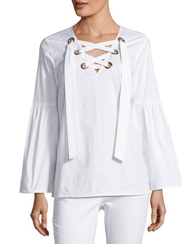 Grommet Lace-Up Poplin Top, White