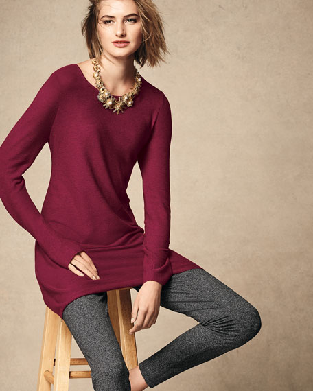 Easy Jewel-Neck Organic Cotton-Blend Tunic, Plus Size