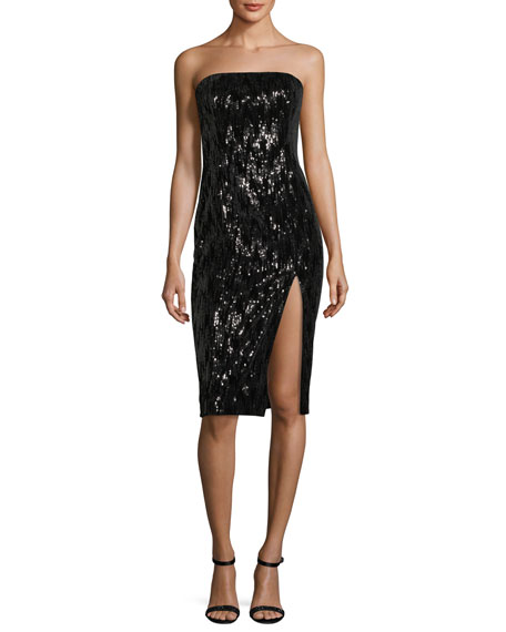 Jay Godfrey Astor Strapless Bustier High-Slit Sequin Cocktail
