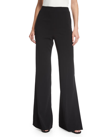Jay Godfrey Tilden High-Waist Wide-Leg Side-Slit Crepe Pants