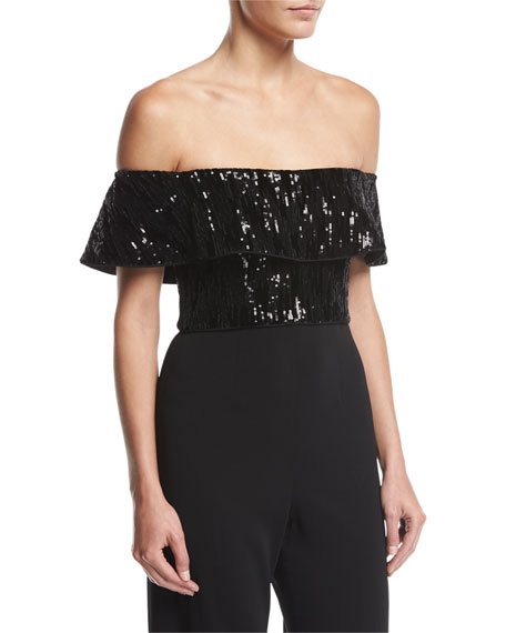 Jay Godfrey Off-the-Shoulder Velvet Sequin Crop Top
