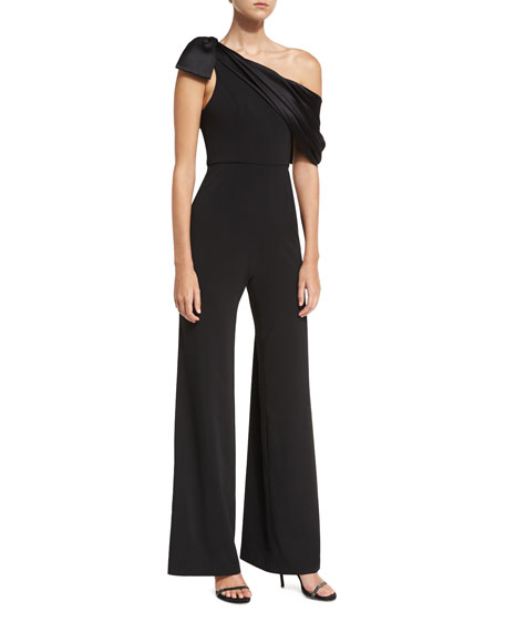 Beckett One-Shoulder Charmeuse Overlay Wide-Leg Jumpsuit