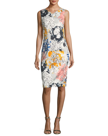 Floral-Print V-Neck Sleeveless Sheath Dress