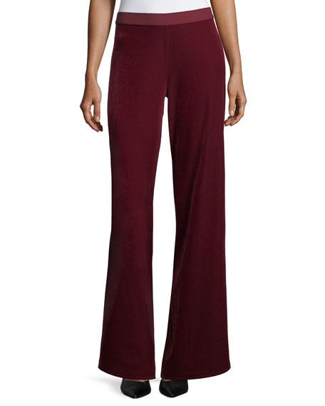 Joan Vass Velvet Wide-Leg Pants, Petite