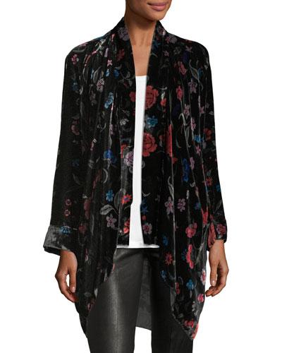 Vella Floral-Print Velvet Kimono, Plus Size